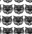 Owl head Doodle hand drawn Seamless patern black vector image