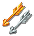 pair of arrows gold and silver weapon of cupid vector image vector image