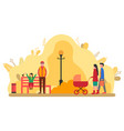 people relaxing in park walking man and woman vector image vector image