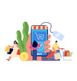person online shopping easy payment shop app vector image vector image