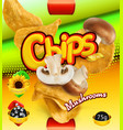 potato chips mushrooms flavor design packaging 3d vector image vector image