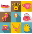 princess fairy tail icon set flat style vector image vector image