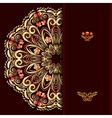 Rich burgundy background with a round gold floral vector image vector image