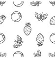 seamless pattern butterfly strawberry and vector image vector image