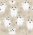 seamless pattern with cute white bears vector image vector image