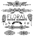 set of floral page decorations and dividers vector image