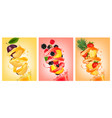 set of fruit in juice splashes peach strawberry vector image vector image