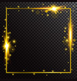 shiny glowing gold frame on dark transparent vector image
