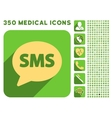 SMS Icon and Medical Longshadow Icon Set vector image