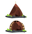 stone age style homes cartoon vector image