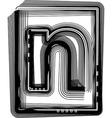 Striped font LETTER n vector image vector image