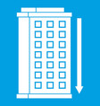 tall building and down arrow icon white vector image vector image