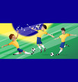 team brazil football soccer players set vector image vector image