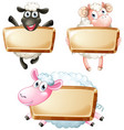 three blank signs with cute sheeps vector image