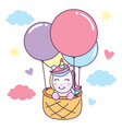 unicorn ride basket with air balloon vector image vector image