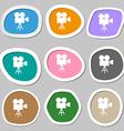 Video camera symbols Multicolored paper stickers vector image vector image