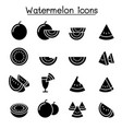 watermelon icon set vector image vector image
