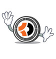waving bitcoin dark character cartoon vector image vector image