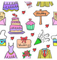 wedding party doodle style vector image vector image