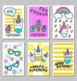 a set of cards with a happy birthday with funny vector image