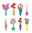 Flowers in vases Flower pots icons vector image