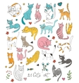 21 cute hand drawn cat colorful set with twigs vector image