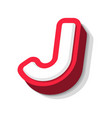3d bold funny letter j heavy type for modern vector image vector image