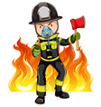 A brave fireman vector image vector image