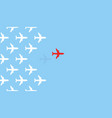 airplanes flying from on blue sky background vector image vector image