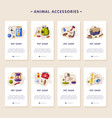 animal accessories mobile app onboarding screens vector image vector image