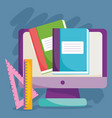 back to school computer books and ruler vector image vector image