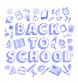 back to school poster with blue pen doodles style vector image