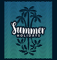 banner on tourism theme with palm tree and sea vector image vector image