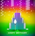 Birthday Cake with Confetti on Colorful Grad vector image vector image