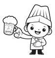 black and white head cook mascot is holding the vector image vector image