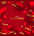 christmas card luxury realistic 3d red shapes vector image vector image