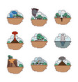 climate change set icons vector image