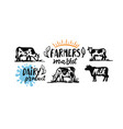 cow and milk emblem farm black sketch stickers vector image vector image