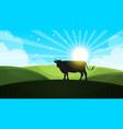 cow in the meadow - cartoon landscape vector image