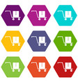 delivery cart with box icon set color hexahedron vector image vector image
