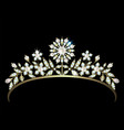 diadem with diamonds and pearls vector image vector image
