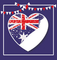 frame and festoons and australian flag on heart vector image vector image