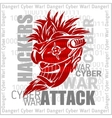 Hackers Attack - cyber war sign on digital binary vector image