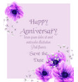 happy anniversary card with pink flowers vector image vector image