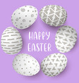 happy easter eggs frame with text white eggs on vector image