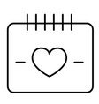 heart calendar day thin line icon love date vector image vector image