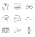 hip hop icon set outline style vector image