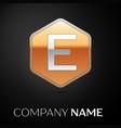 letter e logo symbol in the golden hexagonal vector image