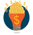 Light bulb with money coins and Money coins on vector image