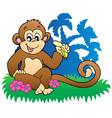 monkey eating banana near palms vector image